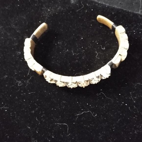 J. Crew Jewelry - JCrew Gold and Crystal Bangle Bracelet